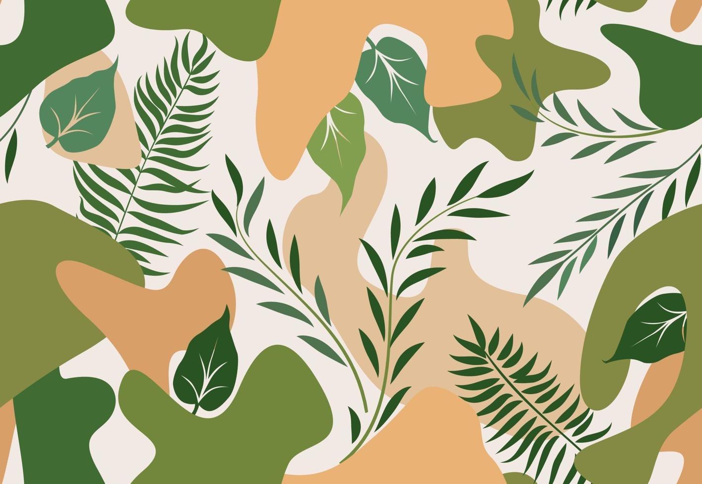 motif floral avec des feuilles. fond sans couture nature printemps abstrait. vecteur