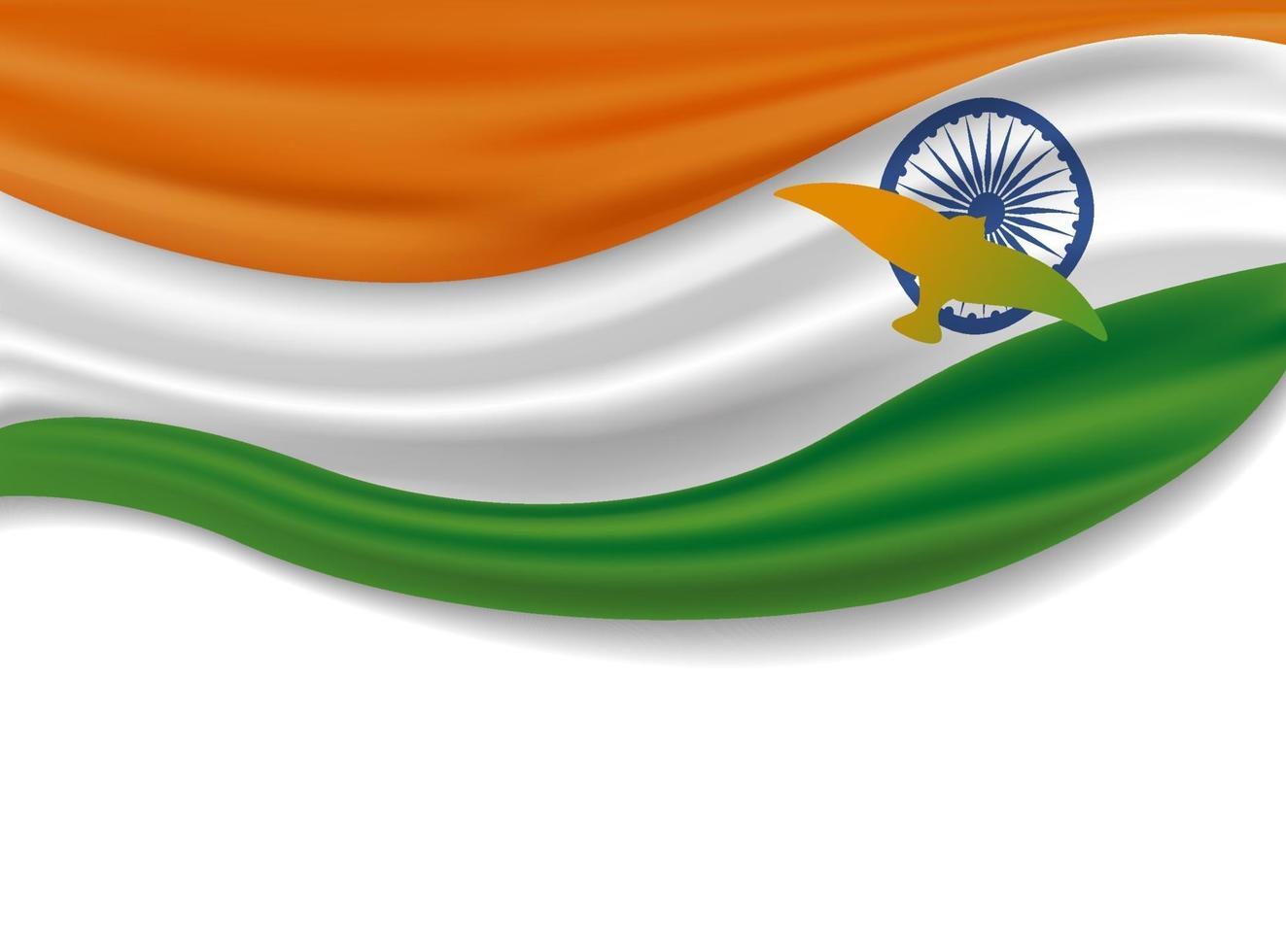 15 août conception de la fête de l'indépendance de l'inde du drapeau indien avec des oiseaux sur illustration vectorielle fond blanc vecteur