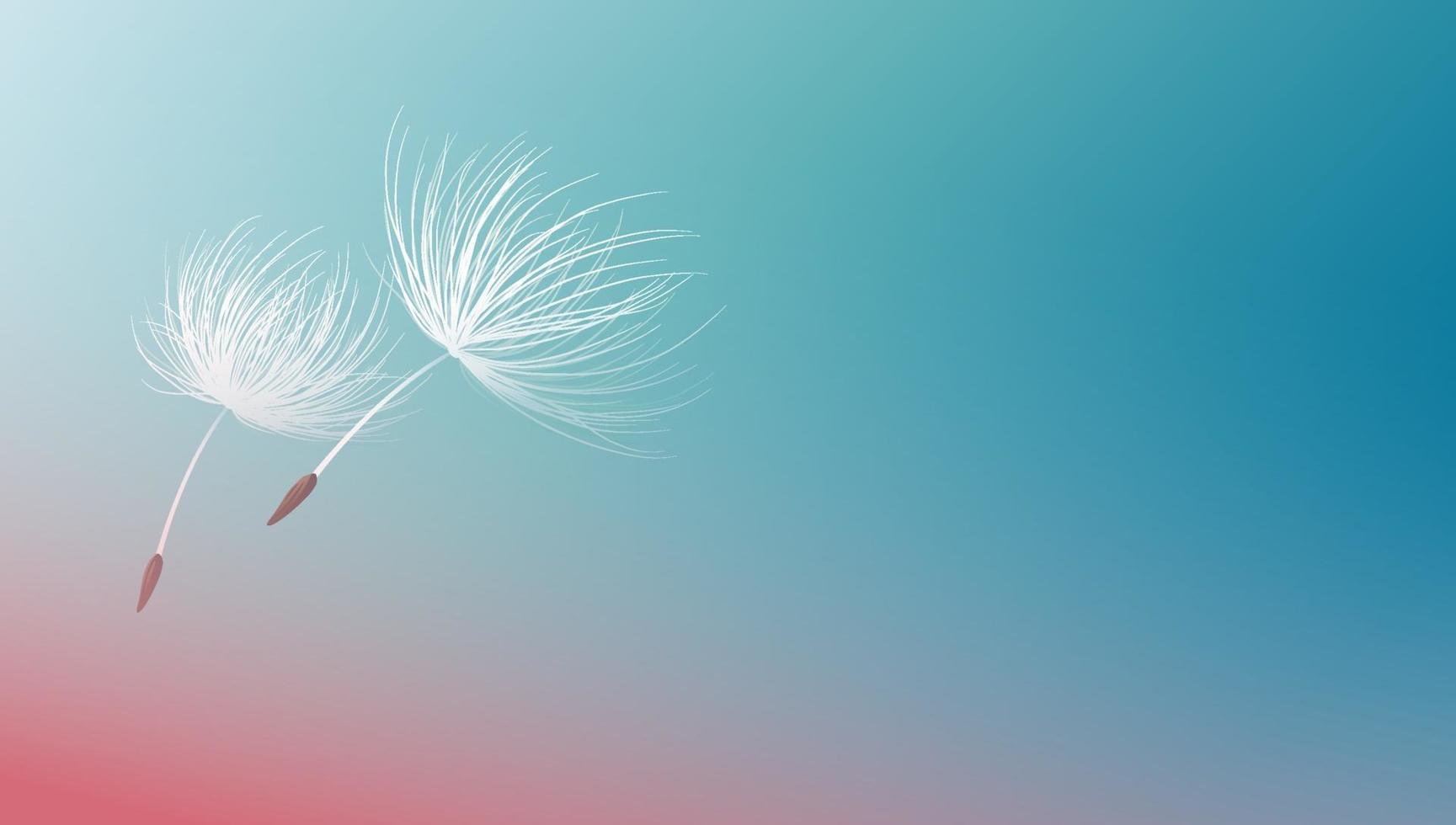 graines de pissenlit volant sur illustration vectorielle fond bleu vecteur