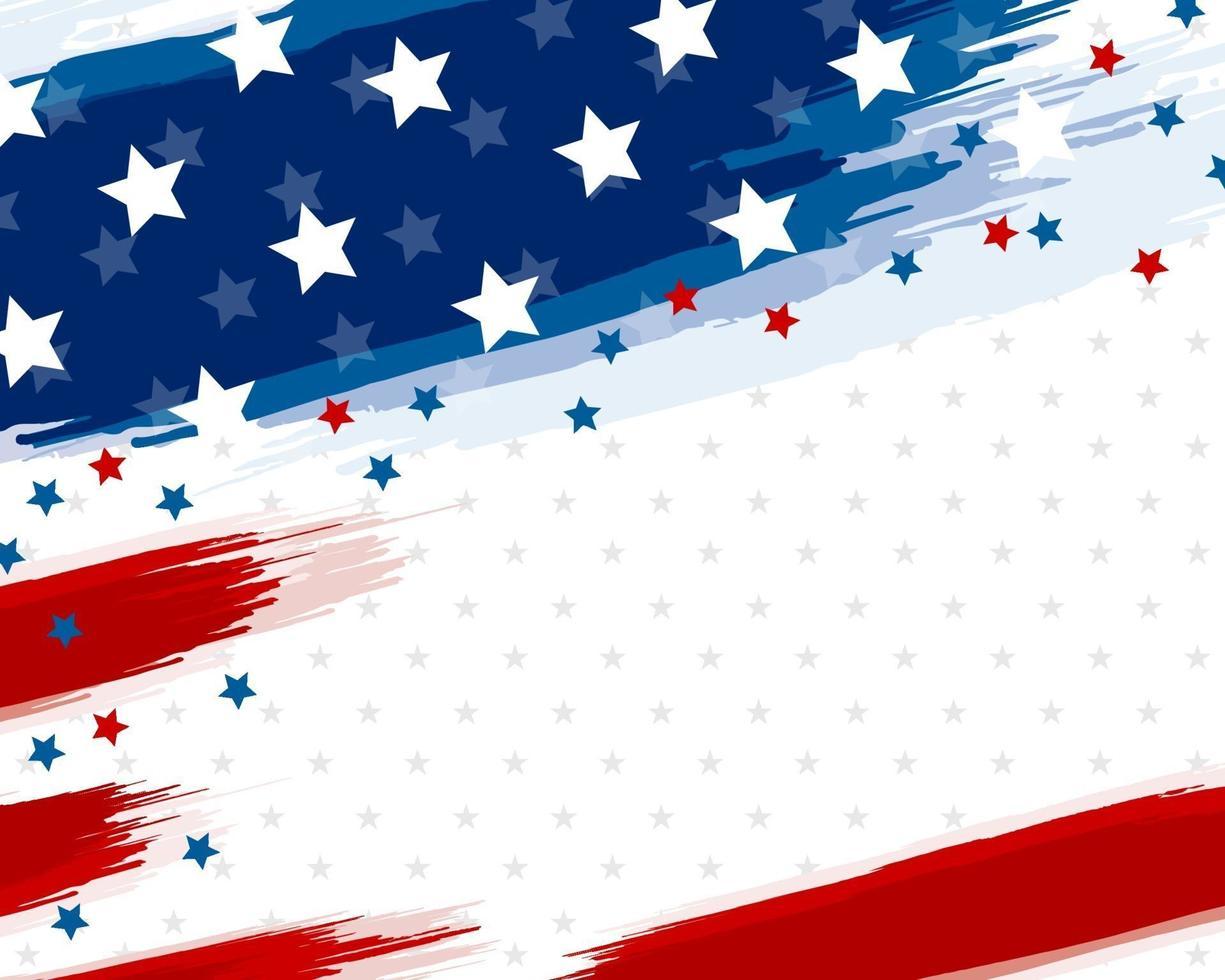 USA ou bannière de pinceau drapeau américain sur illustration vectorielle fond blanc vecteur