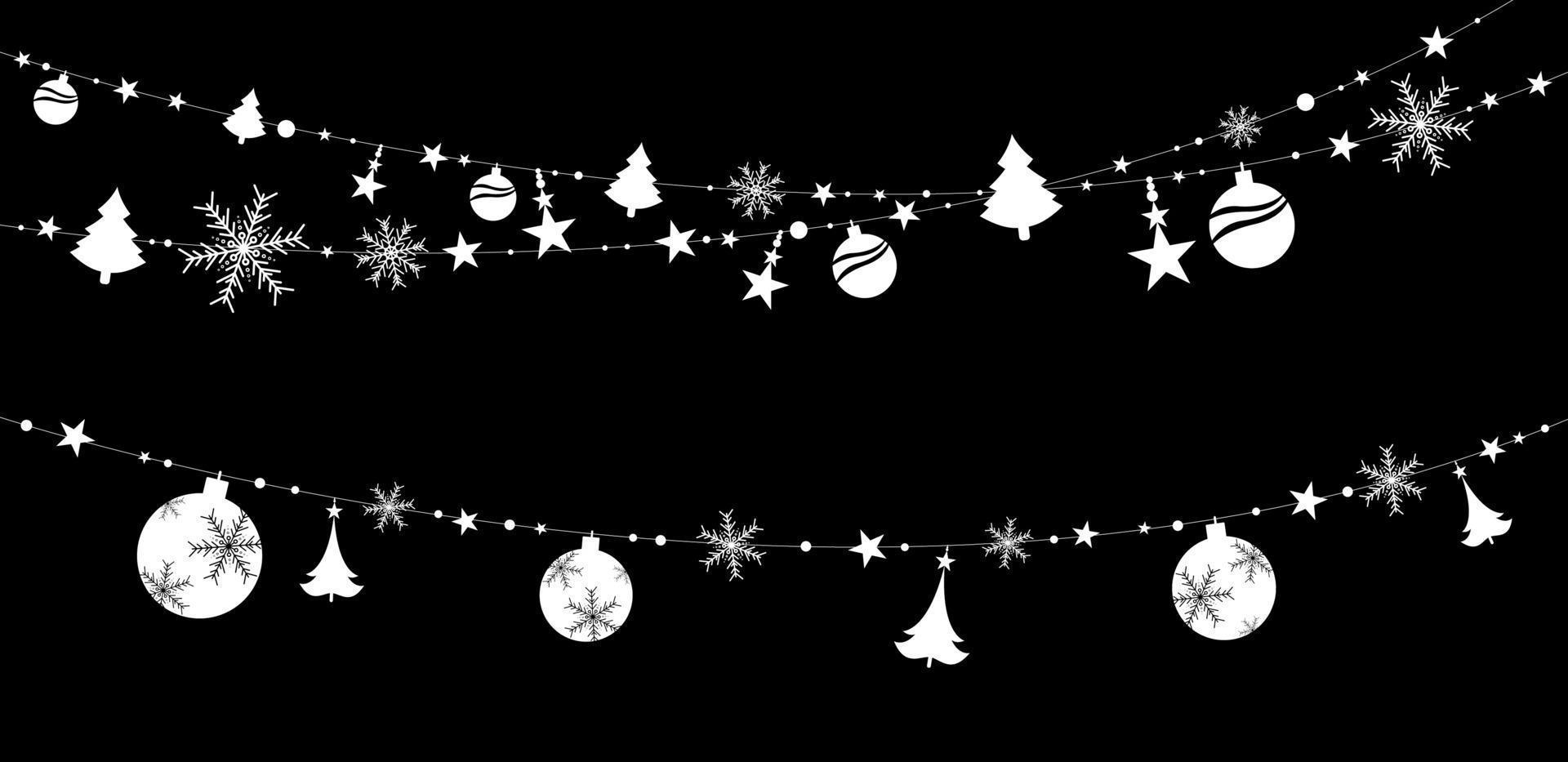 décoration de Noël autocollant isolé sur illustration vectorielle fond noir vecteur