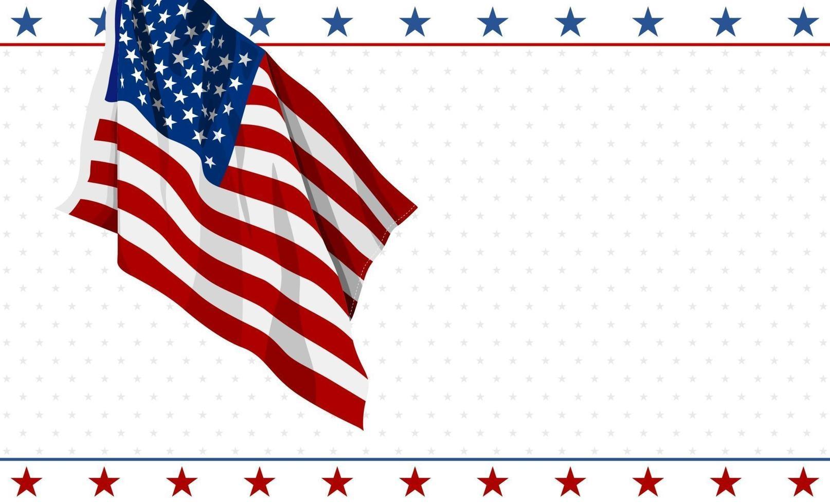 conception de drapeau américain sur fond blanc 4 juillet usa illustration vectorielle de fête de l'indépendance bannière vecteur