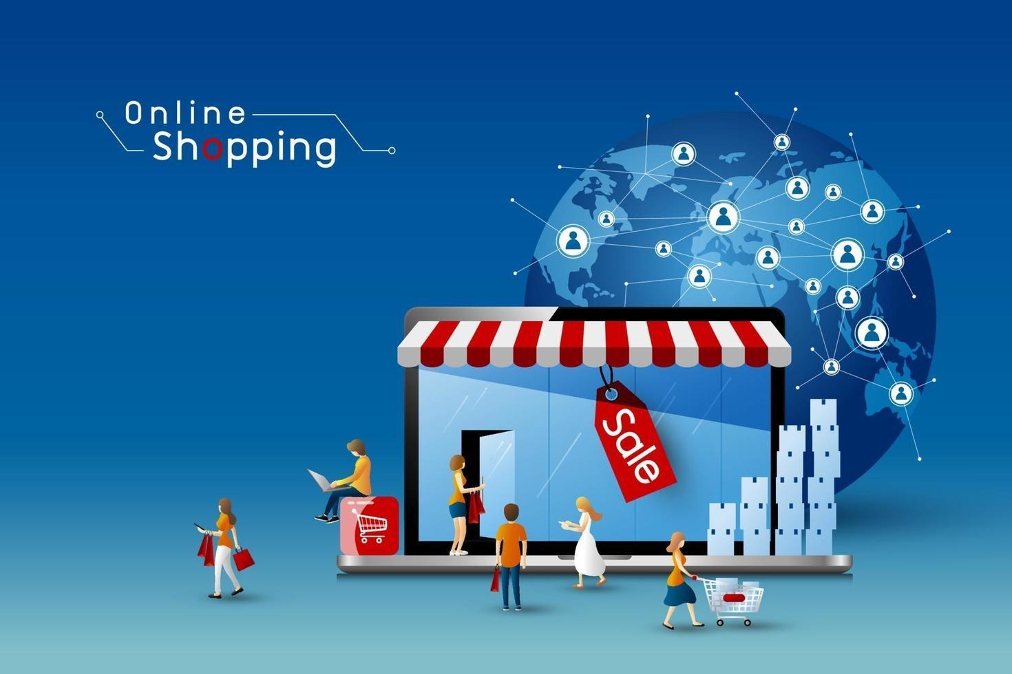 conception de magasinage en ligne d & # 39; ordinateur portable et de personnes avec illustration vectorielle de connexion réseau mondial vecteur