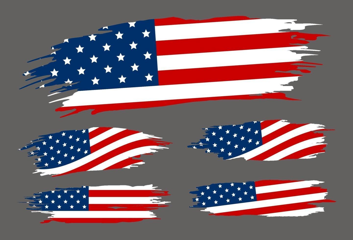 Pinceau de drapeau usa sur illustration vectorielle fond gris vecteur