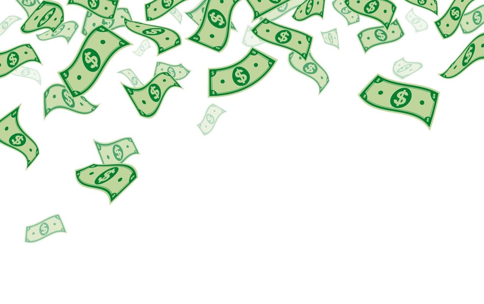 banque de dollars tombant isolé sur illustration vectorielle fond blanc vecteur