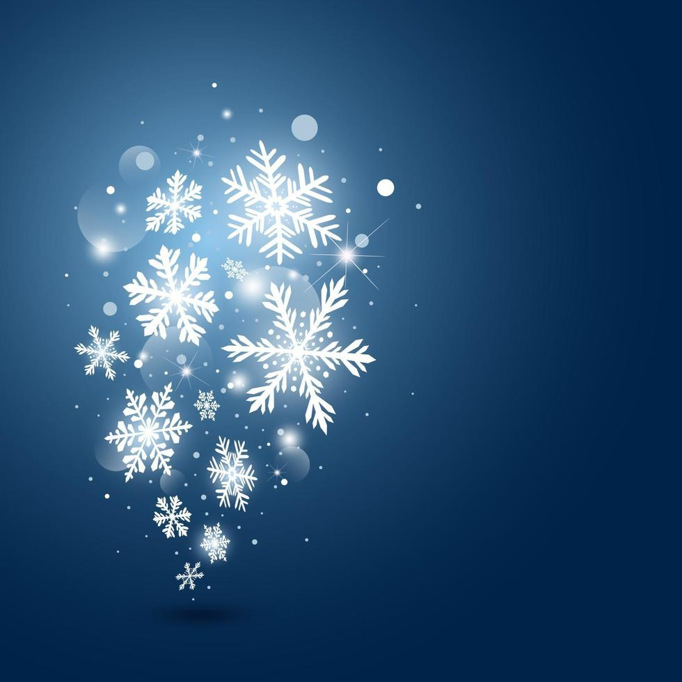 conception de cartes de Noël sur flocon de neige et lumière sur illustration vectorielle fond bleu vecteur