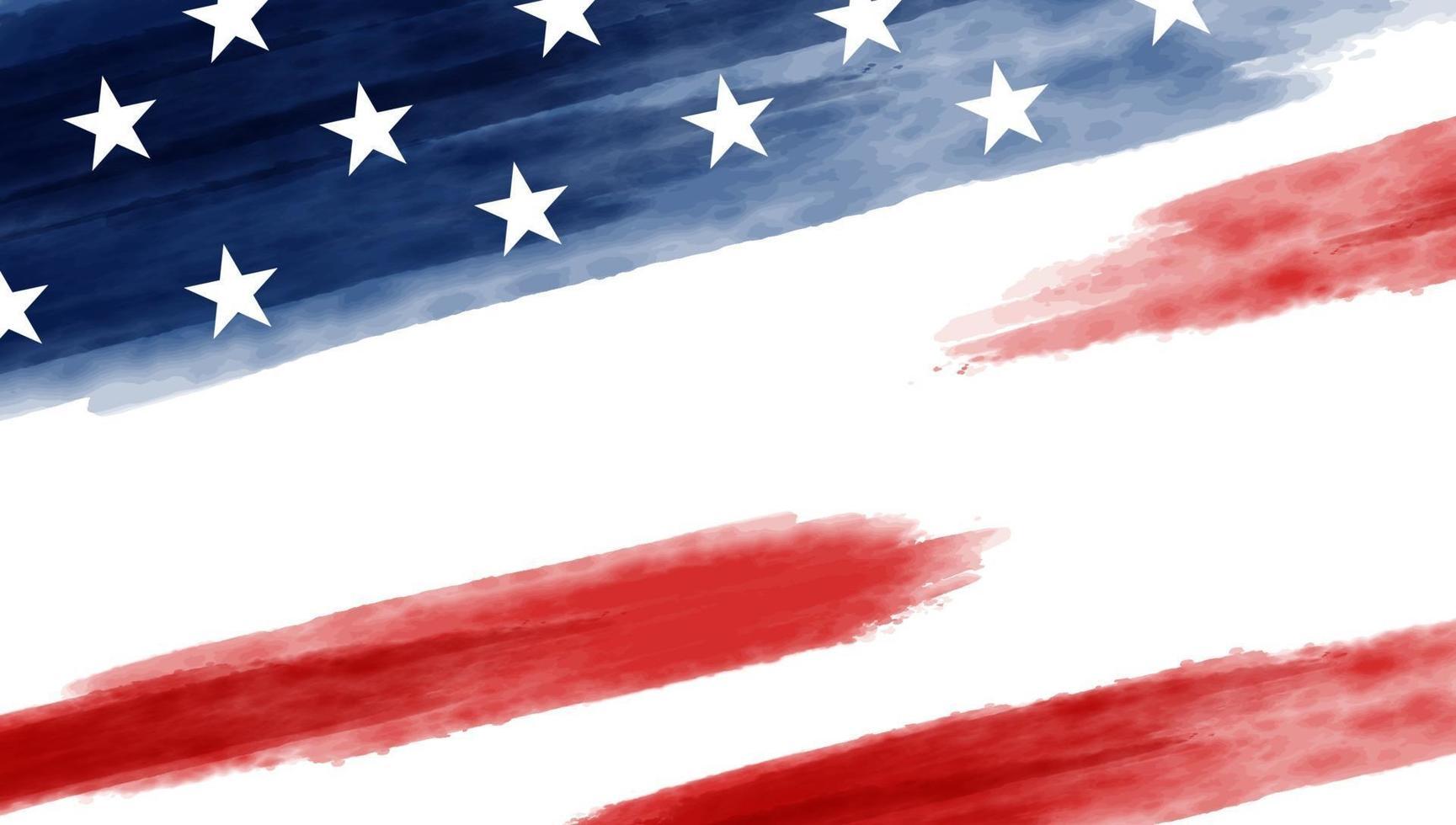 conception de fond de drapeau usa ou amérique d'aquarelle sur illustration vectorielle fond blanc vecteur