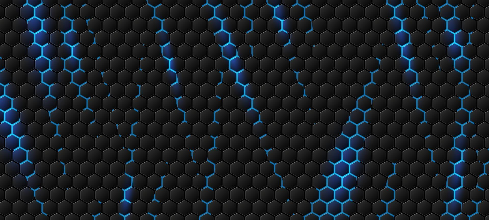 fond hexagonal moderne avec illustration vectorielle effet de lumière bleue vecteur
