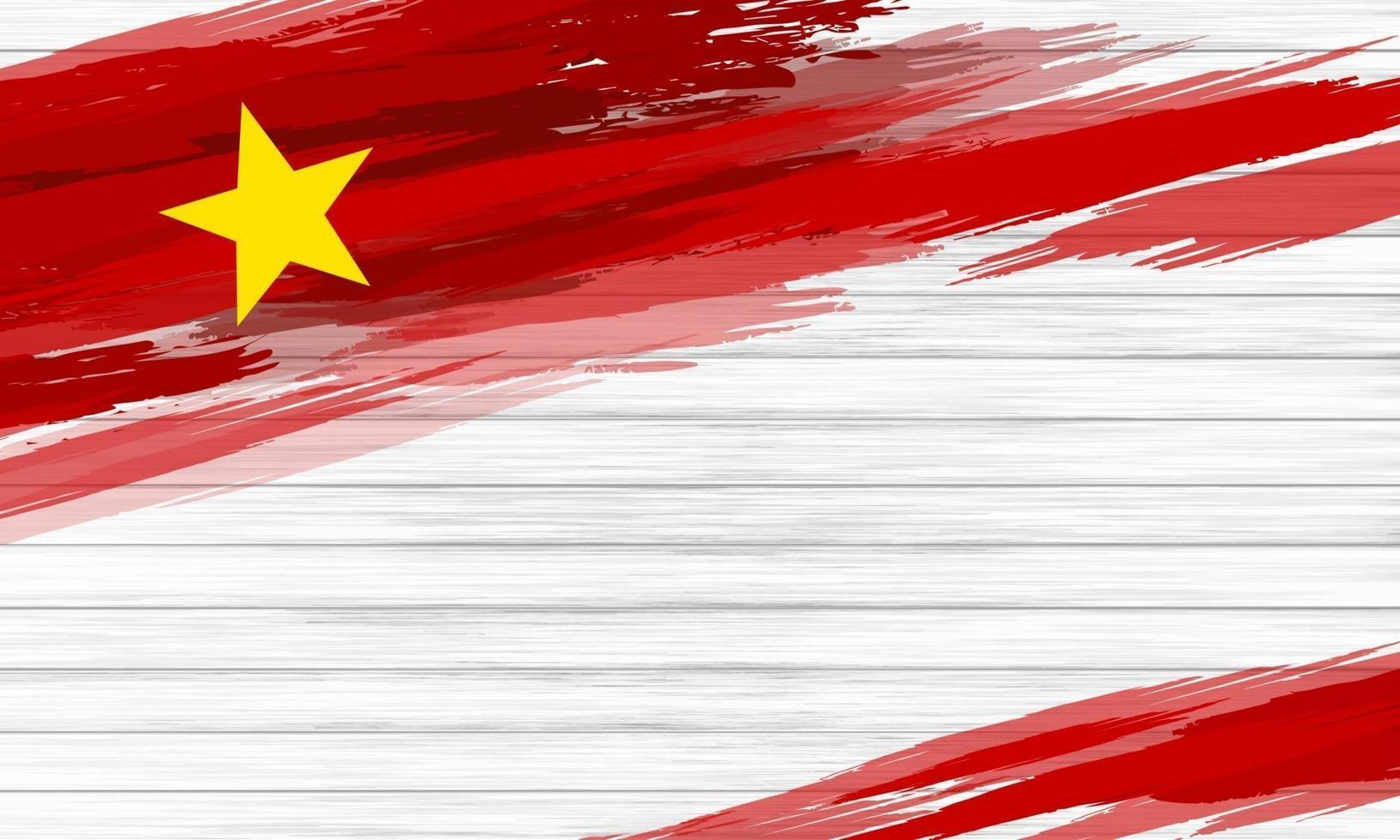 pinceau drapeau vietnam sur illustration vectorielle fond bois blanc vecteur