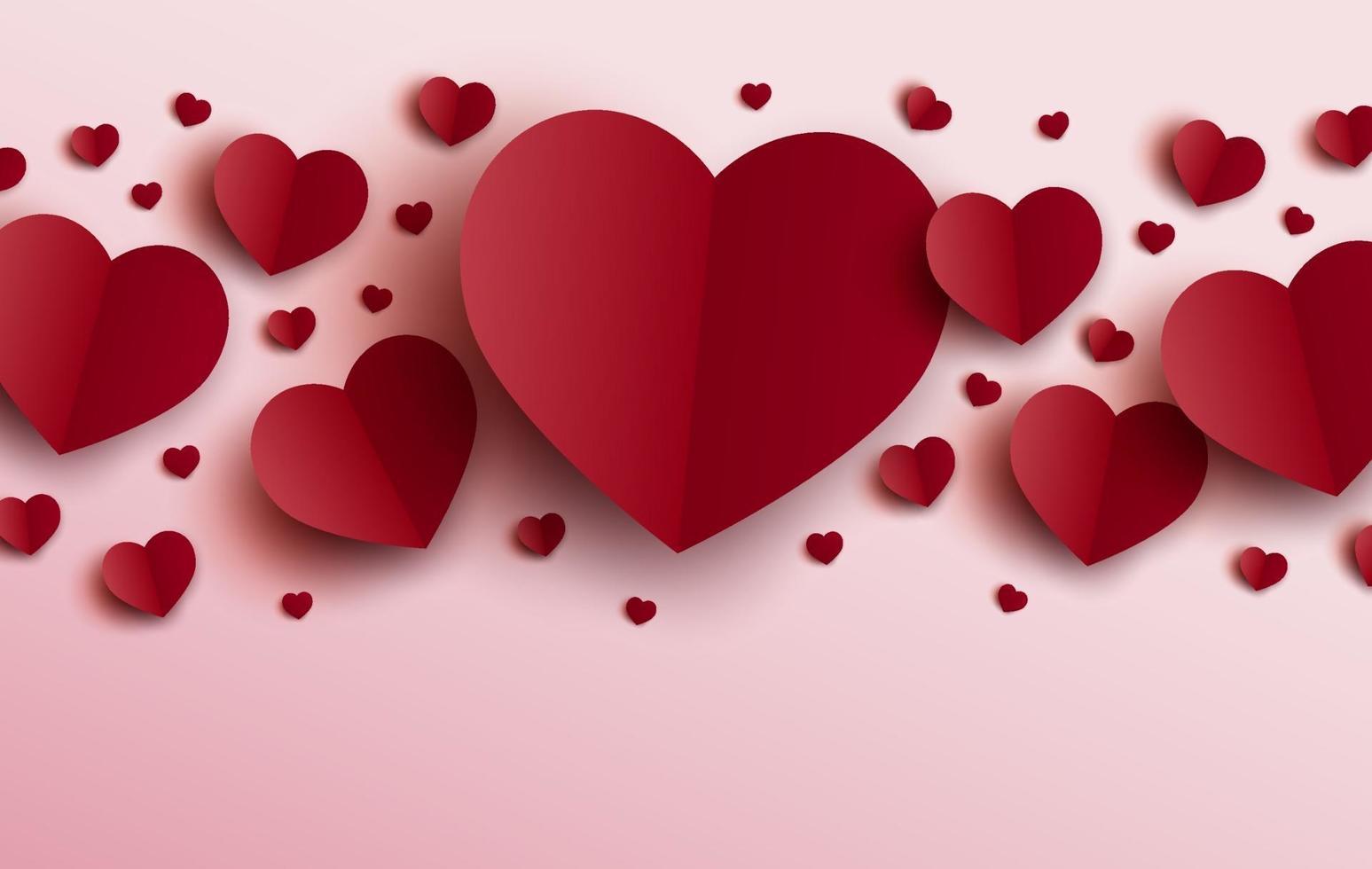 conception de cartes Saint Valentin de coeurs rouges sur illustration vectorielle fond rose vecteur