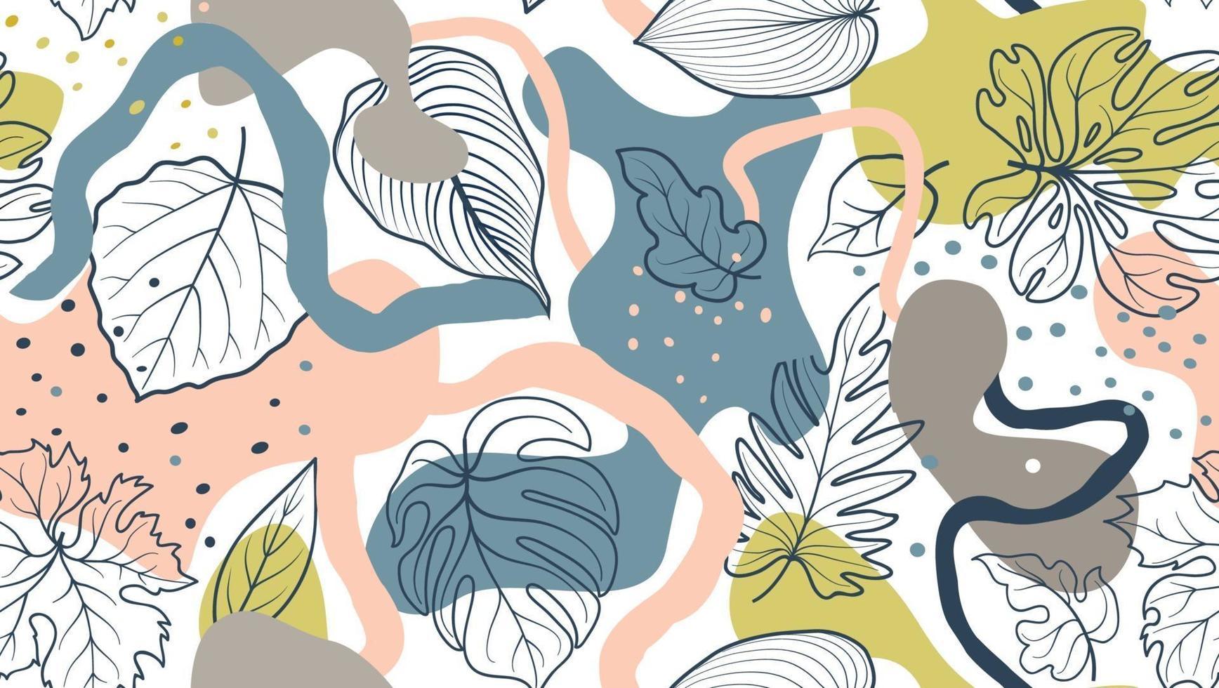 motif floral sans couture avec des feuilles et des taches organiques abstraites sur fond blanc vecteur