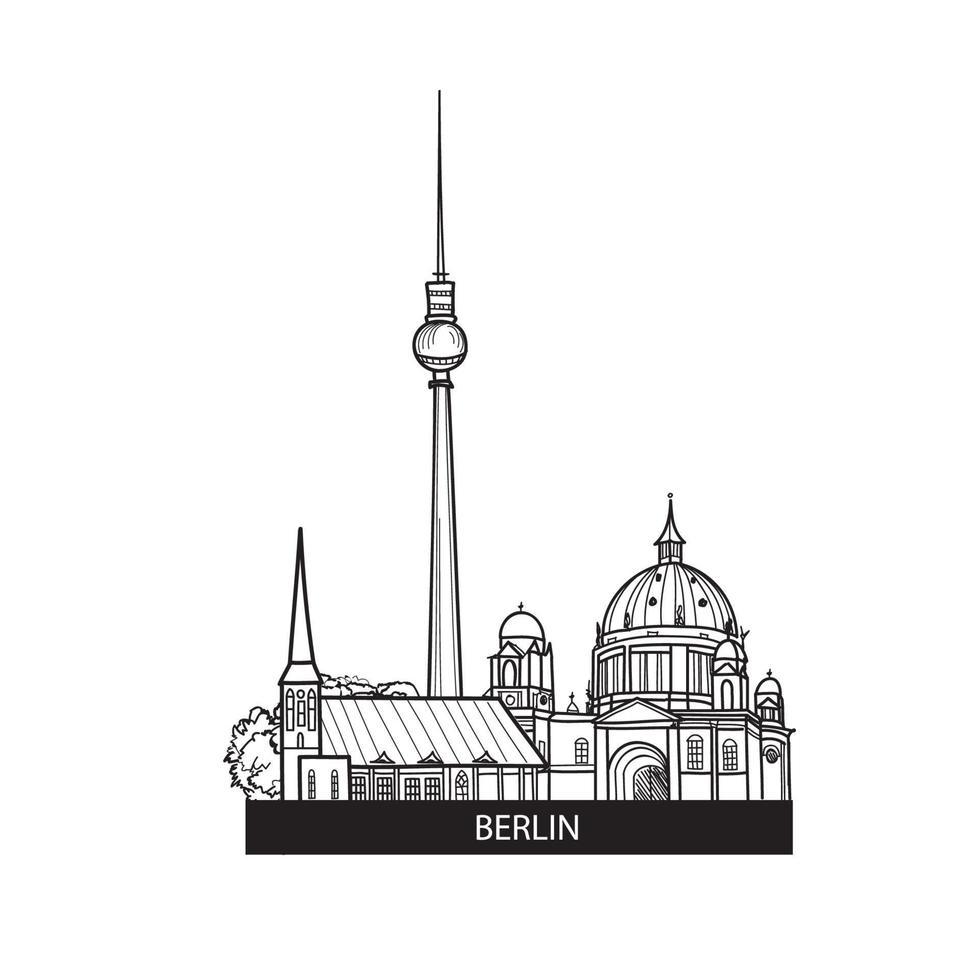 berlin, allemagne paysage urbain. célèbre skyline avec tour de télévision vecteur