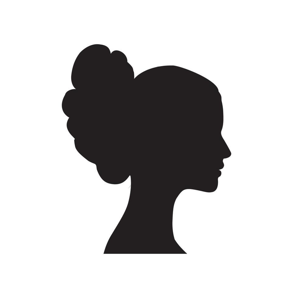 silhouette de profil de visage de femme. icône dessinée de coiffure de femmes. portrait de dame dans un style rétro. vecteur