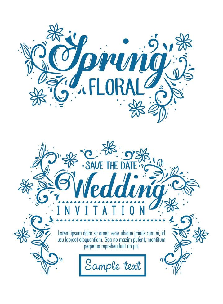 invitation de mariage et carte florale de printemps avec décoration de fleurs et de feuilles vecteur