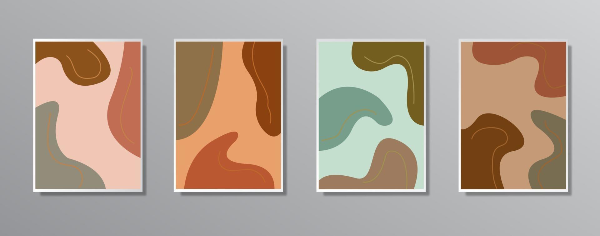 ensemble d'illustrations de couleur neutre vintage dessinés à la main minimaliste créatif vecteur