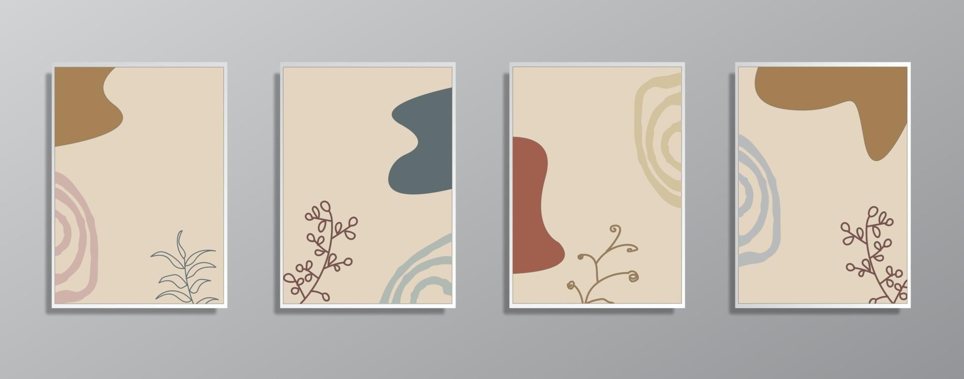 ensemble d'illustrations de couleur neutre vintage dessinés à la main minimaliste créatif, pour mur. pour carte-cadeau, affiche sur le modèle d'affiche de mur, page de destination, ui, ux, coverbook, baner, vecteur