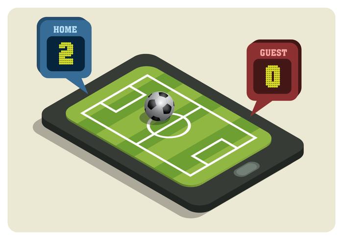 Terrain de football isométrique sur Smartphone vecteur
