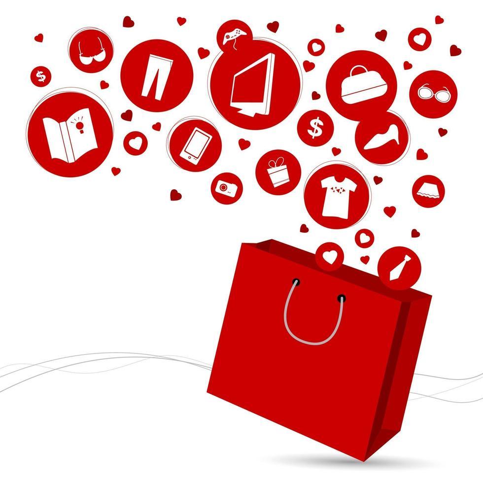 sac à provisions et illustration vectorielle de mode icône design vecteur