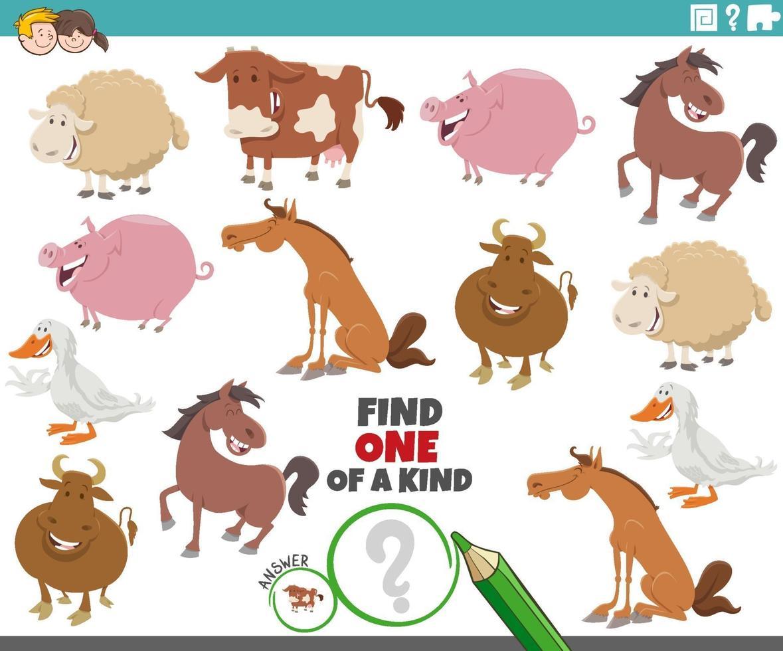 tâche unique pour les enfants avec des animaux de ferme de dessin animé vecteur