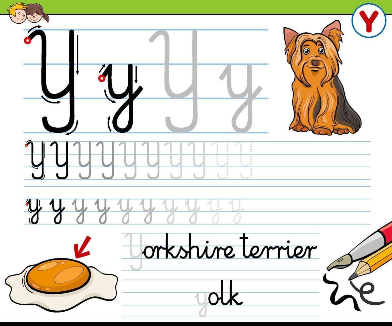 écriture de la feuille de calcul de la lettre y pour les enfants vecteur