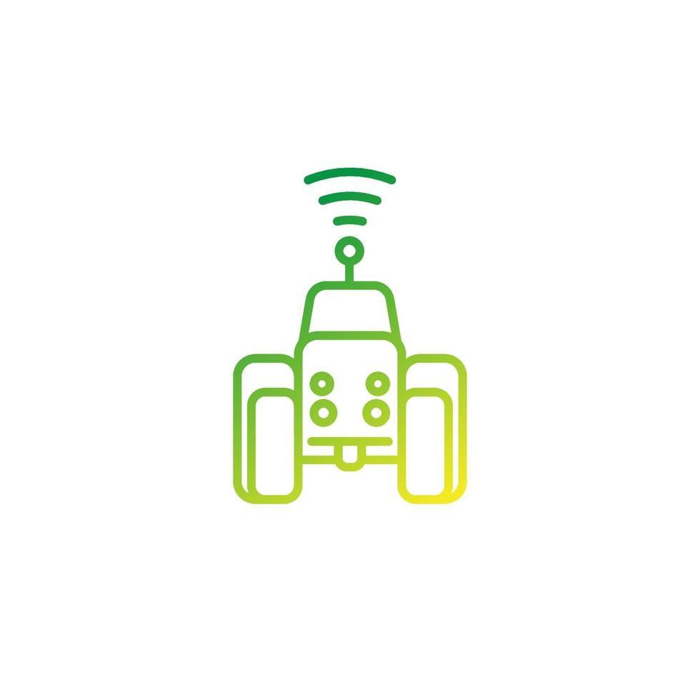 Icône de ligne de vecteur de tracteur autonome.eps