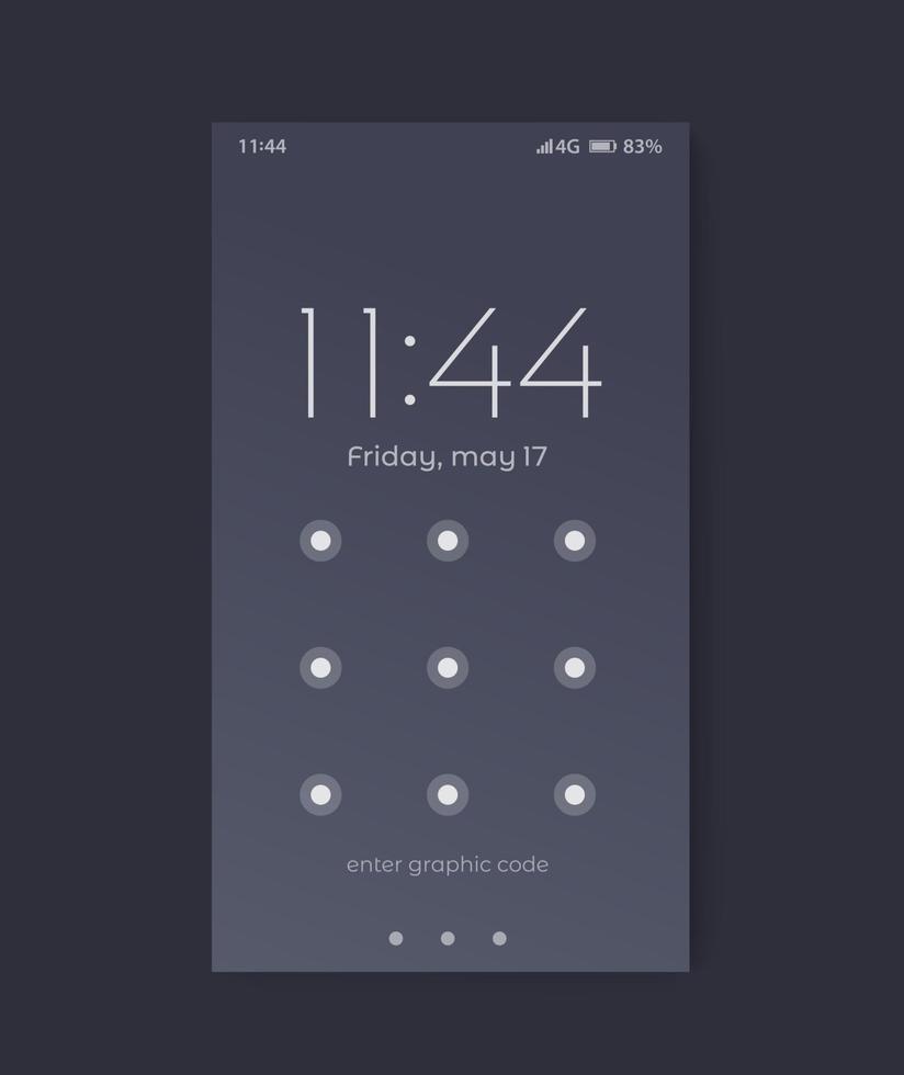 interface d'écran de verrouillage du téléphone, ui design.eps vecteur