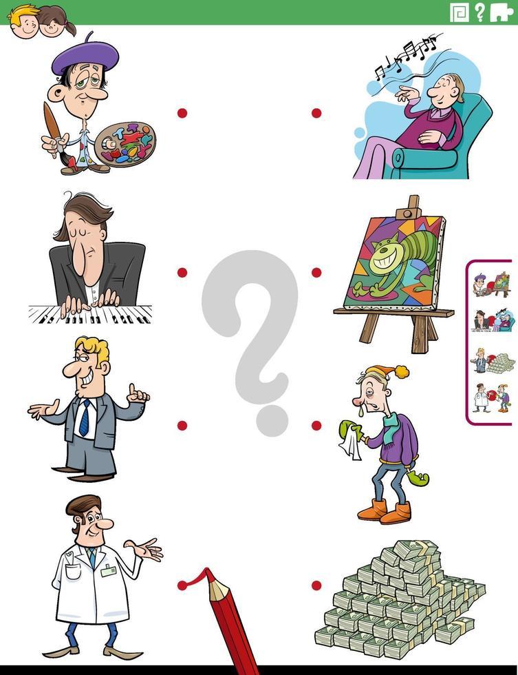 faire correspondre les personnages et les objets à la tâche éducative vecteur