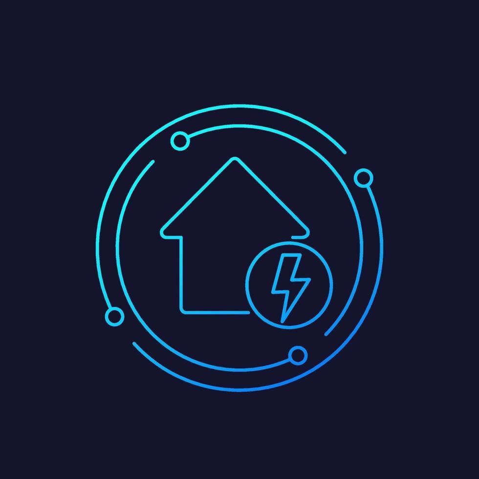 icône de l'électricité avec maison, ligne vector.eps vecteur
