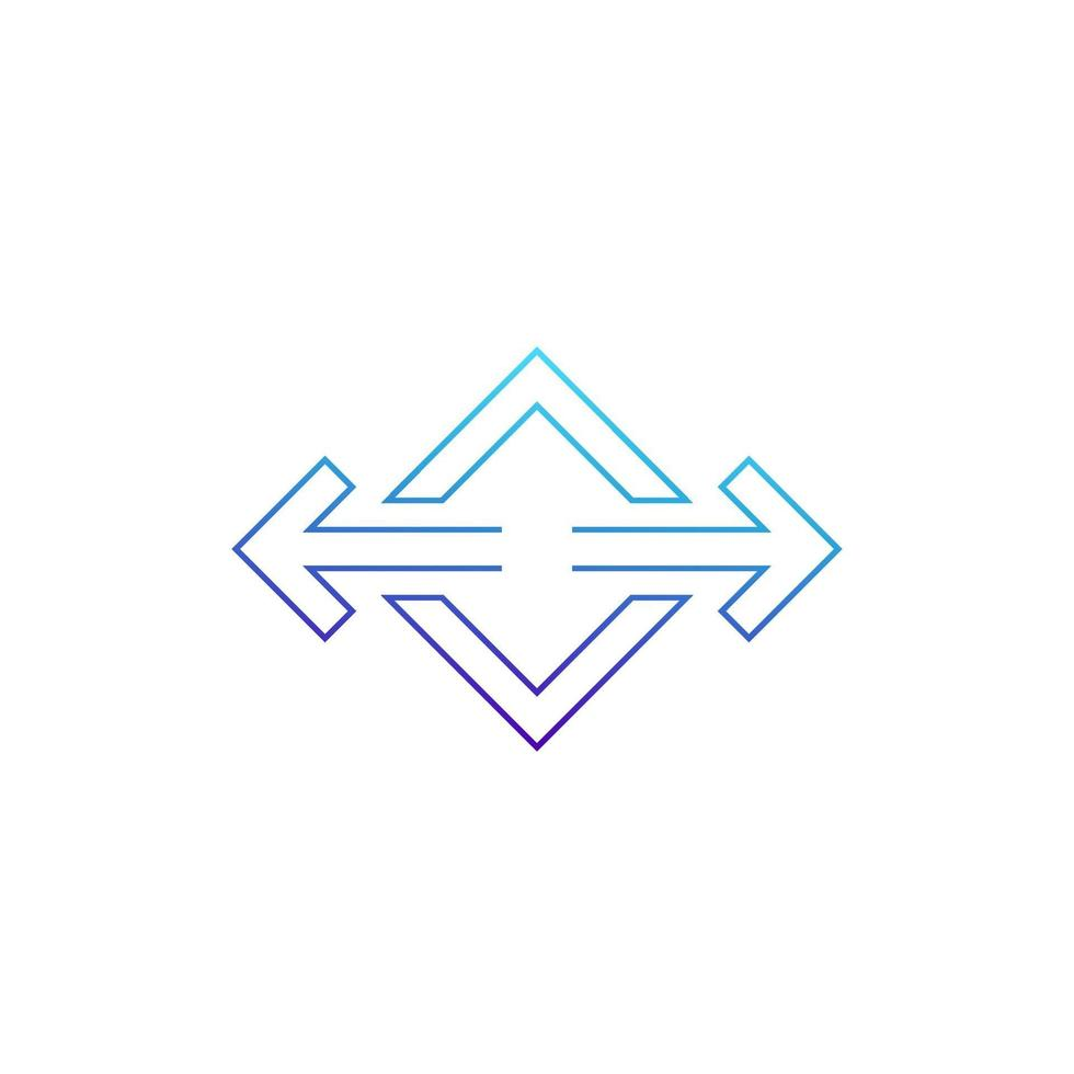 flèches pointées dans deux directions vecteur ligne icon.eps