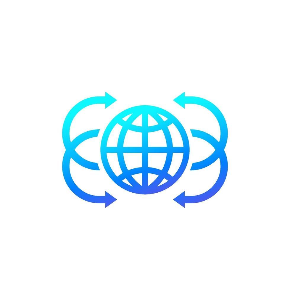 globe avec des flèches vector icon.eps