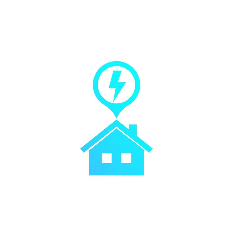 icône de l & # 39; électricité avec maison, vector sign.eps