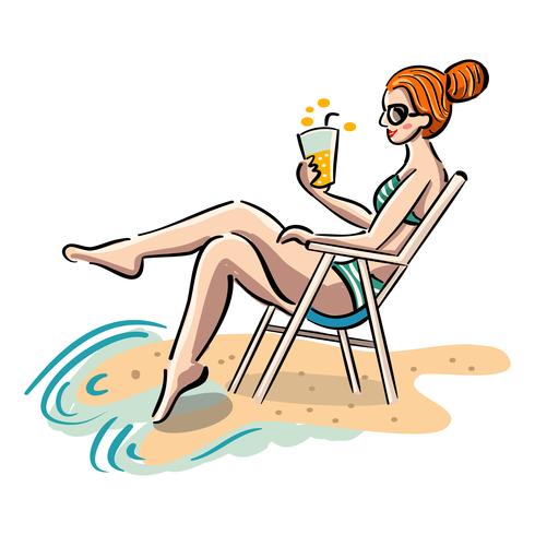 Fille assise sur une chaise de plage vecteur
