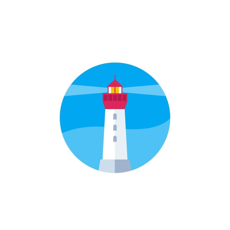 icône de phare sur blanc, plat vector.eps vecteur