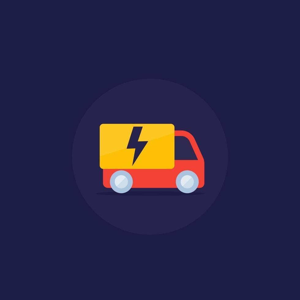 icône de vecteur de van électrique dans le style plat.eps