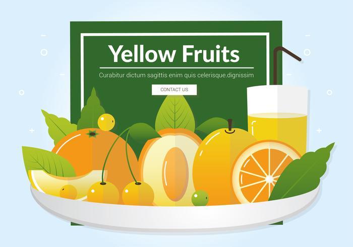 Fruits jaunes frais de vecteur