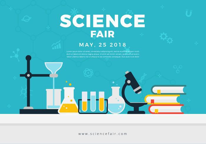 Bannière d'affiche de la foire scientifique vecteur