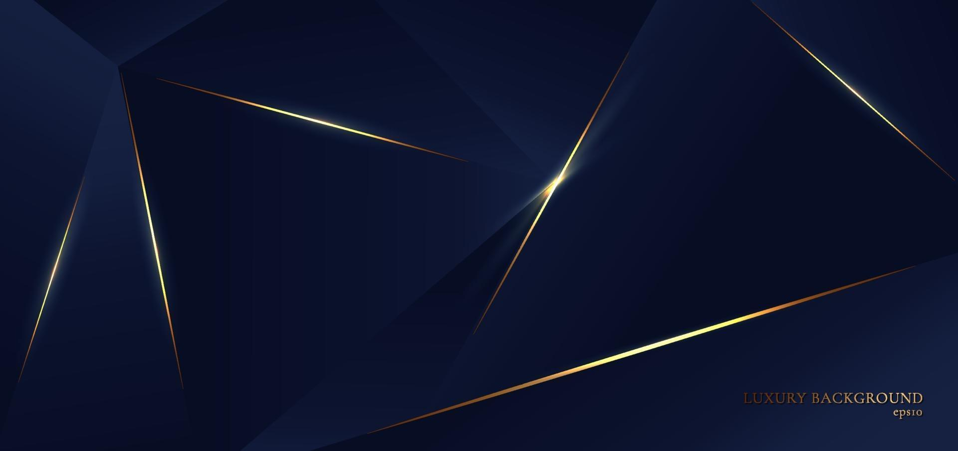 formes abstraites de triangle de polygone bleu. de fond avec ligne dorée et effet d'éclairage, style de luxe. vecteur