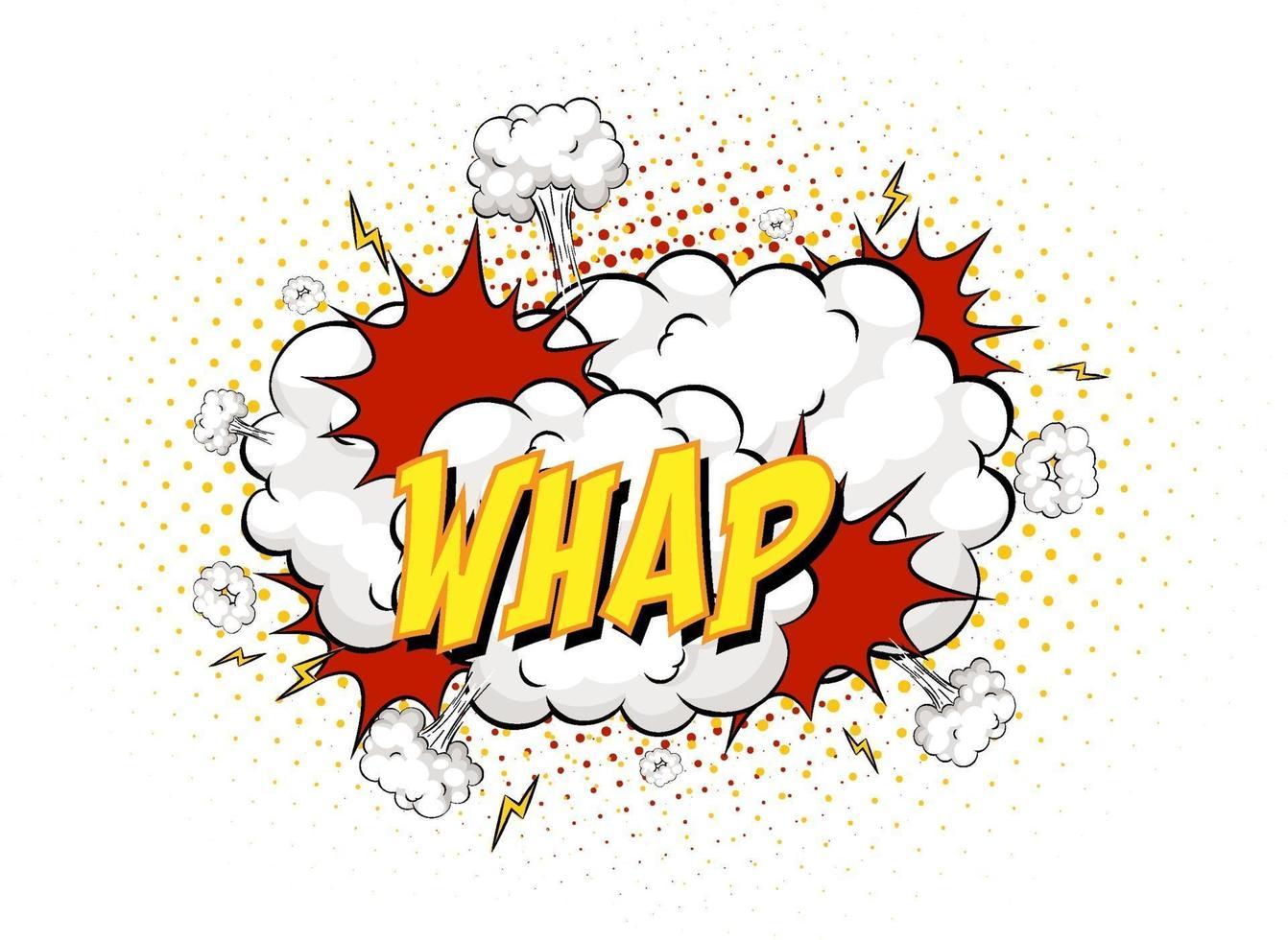 Whap texte sur l'explosion de nuage comique isolé sur fond blanc vecteur