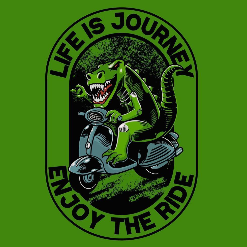 dinosaure avec t-shirt matic scooter et design tendance de vêtements. bon pour les graphiques de t-shirt, l'affiche, l'impression et d'autres utilisations. l'animal ancien conduit un moteur classique vecteur