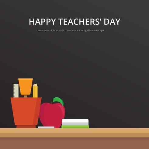 Illustration de carte de voeux joyeux enseignants jour. Tableau noir, craie écrite. vecteur