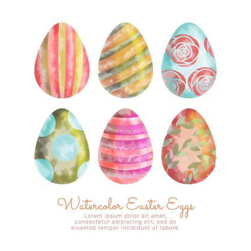 Oeufs de Pâques aquarelle de vecteur