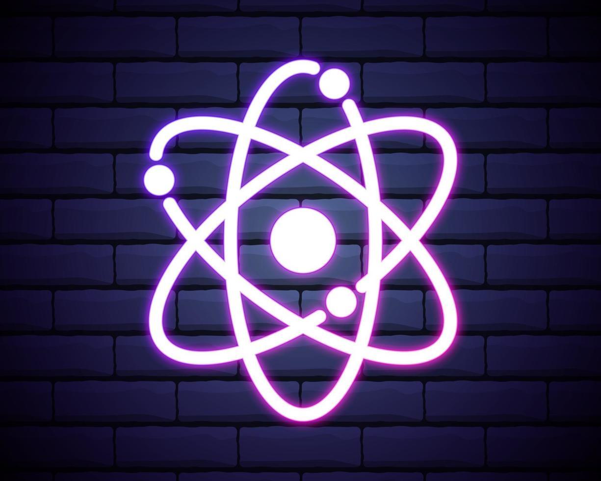 icône de néon atom vecteur