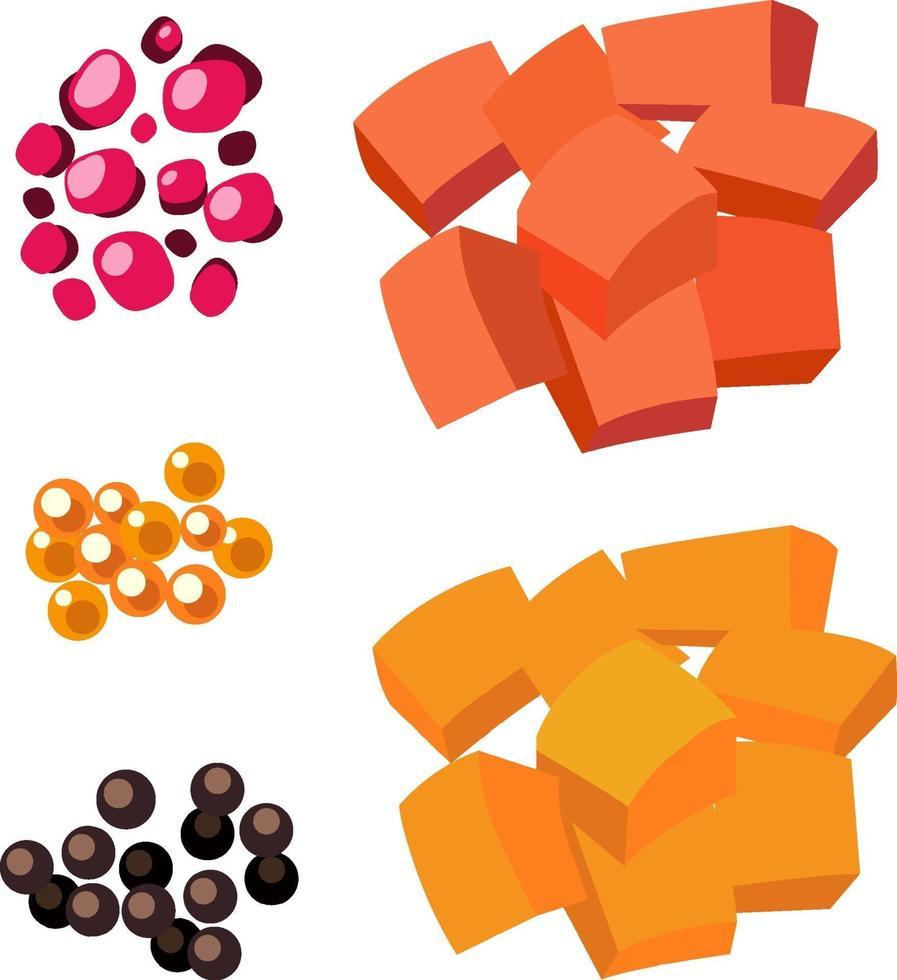 ensemble d & # 39; ingrédients alimentaires isolés vecteur