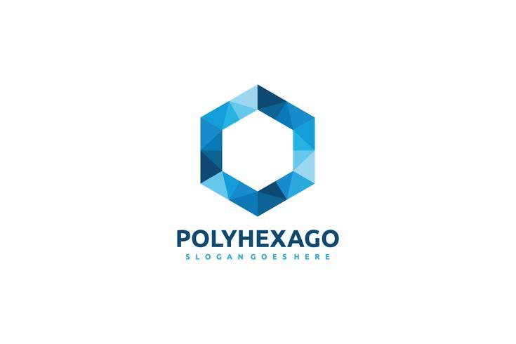 Logo à hexagone polygonal vecteur