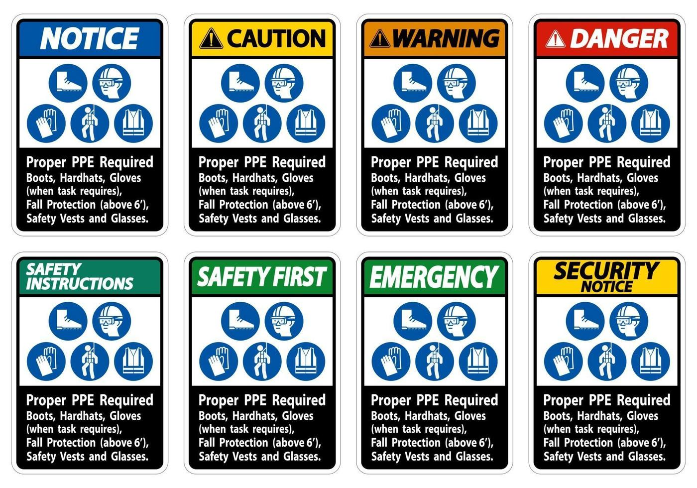 bottes, casques de sécurité et gants appropriés en ppe lorsque la tâche nécessite une protection antichute avec symboles ppe vecteur