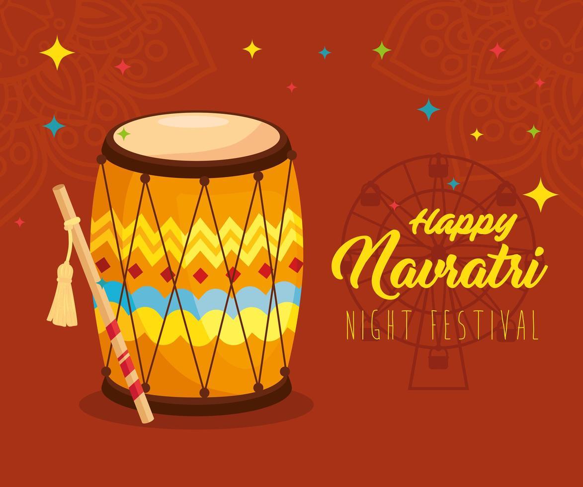 affiche de célébration hindoue navratri avec décorations et tambour vecteur