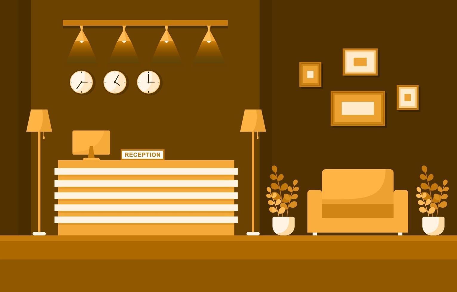 hall de l'hôtel avec réception et illustration de meubles vecteur