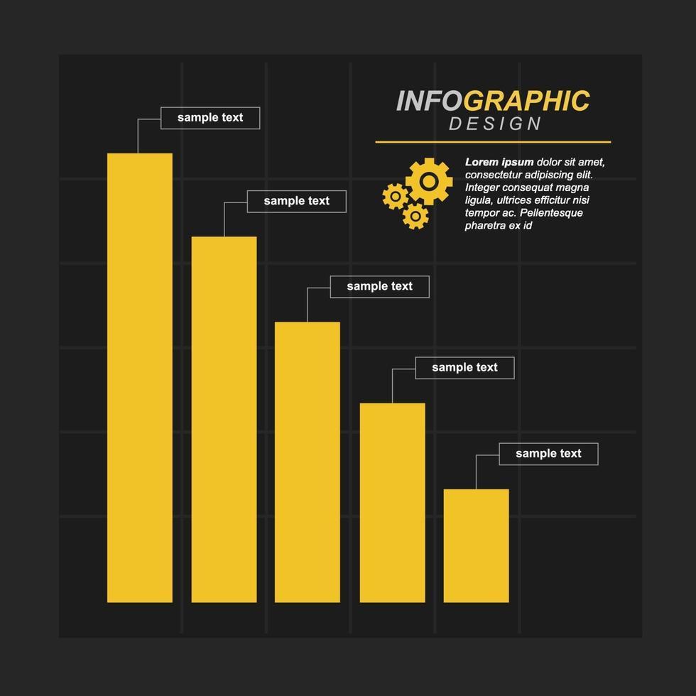 Diagramme à barres décroissant illustrant la pression économique ou les problèmes financiers infographiques vecteur