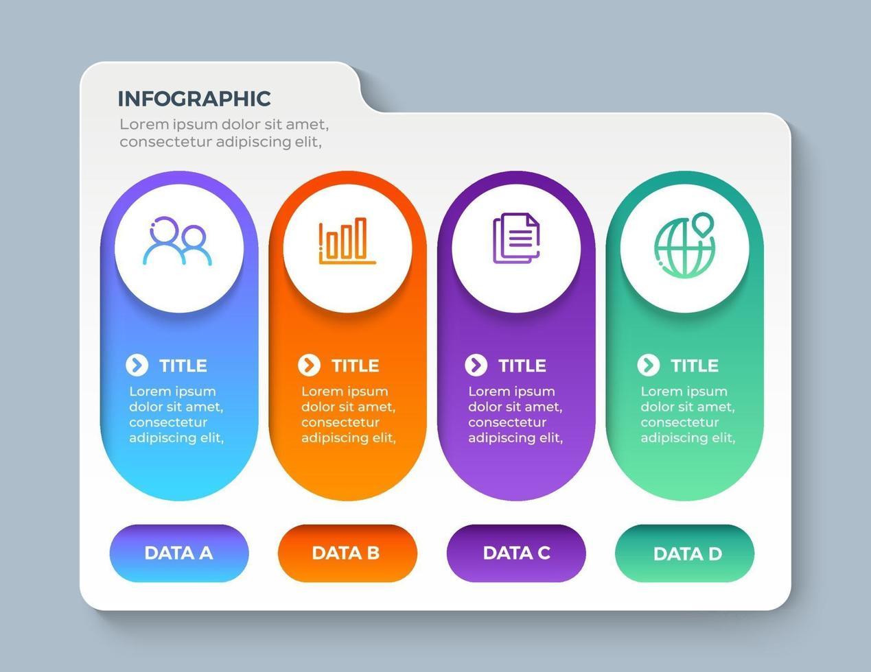 modèle d'infographie de présentation entreprise avec 4 options vecteur