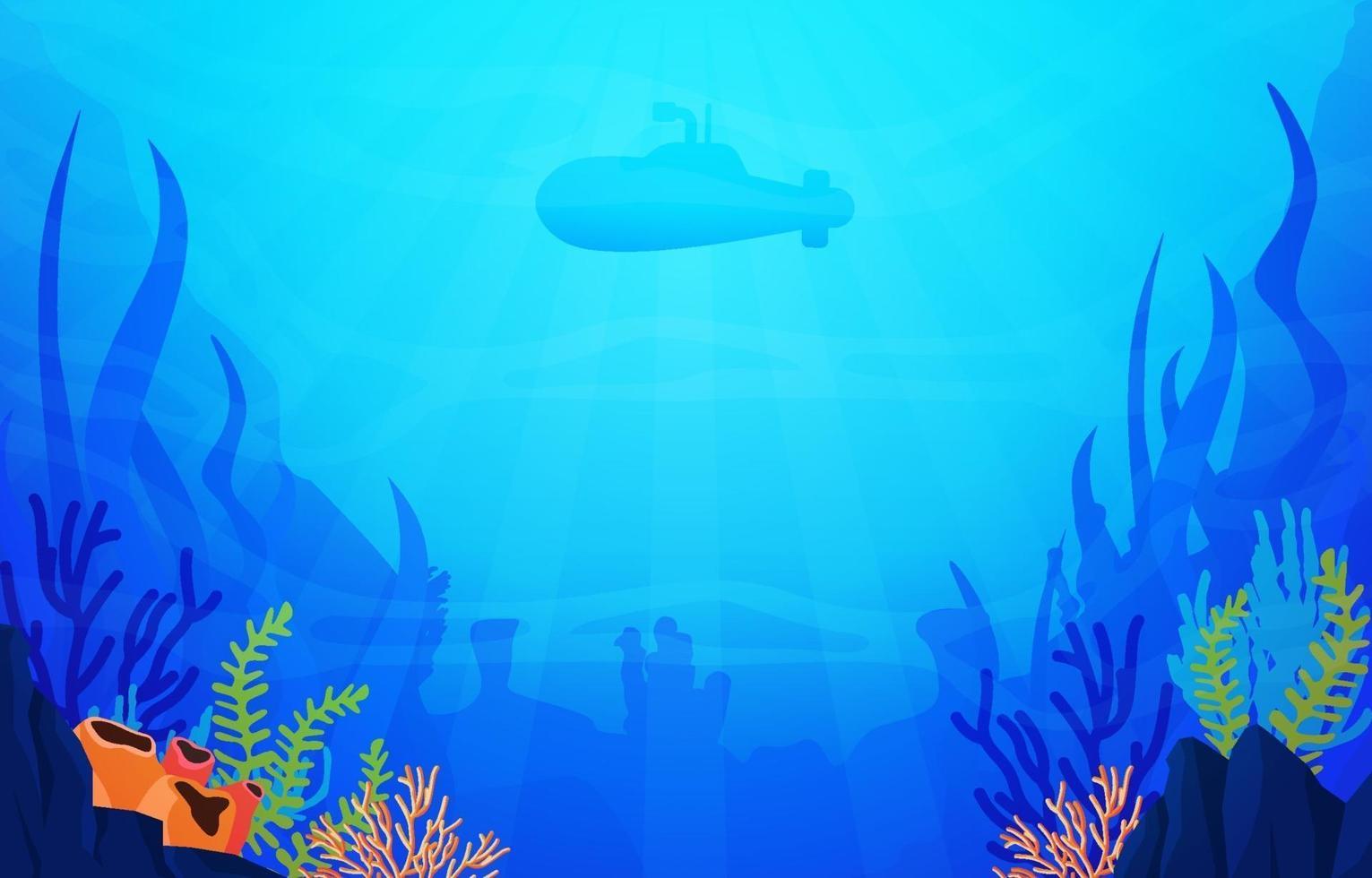 scène sous-marine avec illustration de sous-marin, de poissons et de récifs coralliens vecteur
